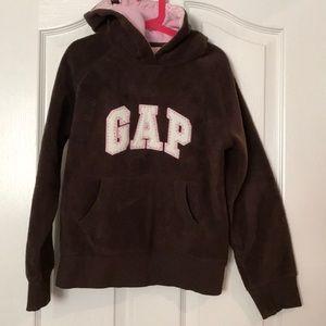 🧥GAP Kids brown polar fleece hoodie jacket